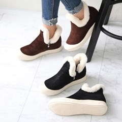 kami et muse Over toe fur trimming ankle boots _KM18w299
