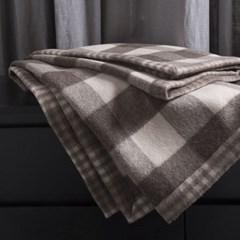 Beige Check Alpaca Blanket