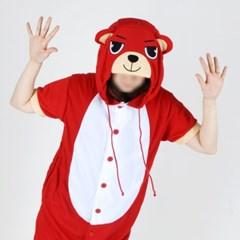 반팔 동물잠옷 곰 (레드) / 불곰