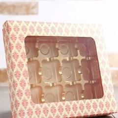 초콜릿박스 12구 핑크 사각창_(1199619)