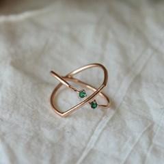 에메랄드 x쉐잎 반지(5월탄생석)