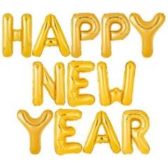 [원팩] 은박풍선세트 HAPPY NEW YEAR 골드