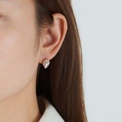 더블 큐빅 펄 귀걸이