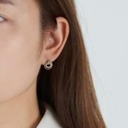 민트 라운드 큐빅 귀걸이