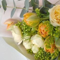 생화 튤립 & 산토리니 장미 꽃다발(친환경보냉박스사용)