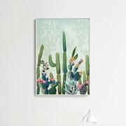 메탈 인테리어 식물 일러스트 포스터 액자 선인장 그림