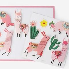 [인디고샵]핑크라마와 선인장 입체 스티커