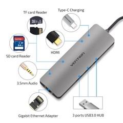 벤션 9in1 C타입 멀티포트 허브 HDMI 랜 도킹스테이션