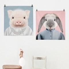 패브릭 포스터 S055 아이방 그림 행운 액자 동물 친구 돼지