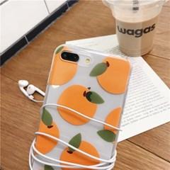 오렌지 잎 투명 아이폰 케이스