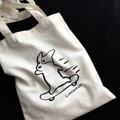 Skateboarding Corgiman Cotton Bag
