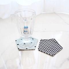 {펜타곤양면코스터}블루퓨어도트&체크 coaster 컵받침