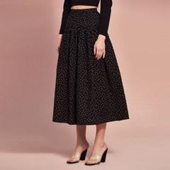 Banding Flair Skirt in Black Flower