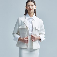 FLINN NO COLLAR JACKET IVORY