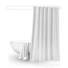 패브릭 욕실 샤워커튼 화이트체크 180x180_(1223142)