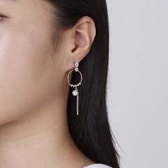라운드 진주 포인트 드랍 귀걸이