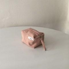 퓨어 헤링본 핑크 네모 파우치(Pure herringbone pink oblong pouch)