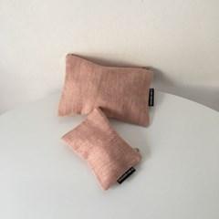 퓨어 헤링본 핑크 파우치(Pure herringbone pink pouch)