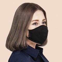 3D 입체 필터교체형 린넨 패션 블랙 마스크-가나연