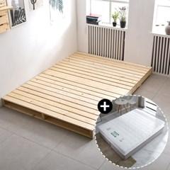 저상형 침대프레임 원목 접이식파렛트 매트세트(SS/Q)
