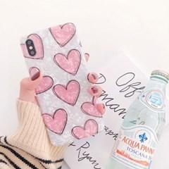 라인 핑크하트 자개 아이폰 케이스