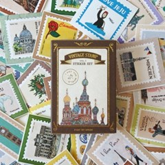 세계를 담은 빈티지 우표 스티커 세트 vol1