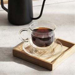 까사무띠 카페 내열 이중 유리 커피잔 180ml 2P세트_(1296700)