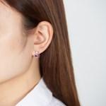 진주 포인트 레인보우 귀걸이