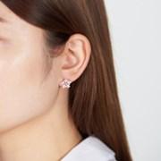 핑크 꽃 심플 귀걸이