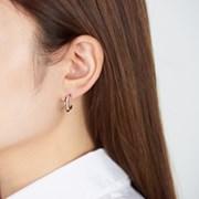 큐빅 민자 더블링 귀걸이