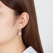 핑크 꽃 체인 드랍 귀걸이