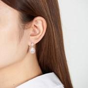 물방울 꽃 스톤 귀걸이