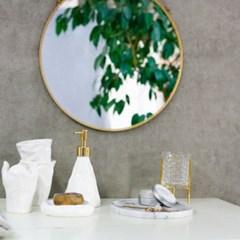 골드 레이스 프레임 원형 벽거울