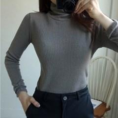 Lopera(로페라) 앙고라 골지 폴라넥 니트 손목 셔링 슬림용 여성용