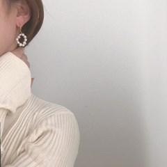 [천연 담수 진주 귀걸이] 펄라운딩 이어링