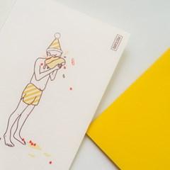 해피케이크 엽서와 봉투세트
