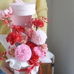 비누꽃 카네이션 원형 용돈박스