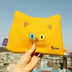 고양이파우치A 3종 / 이름자수 새김 / 자수가방