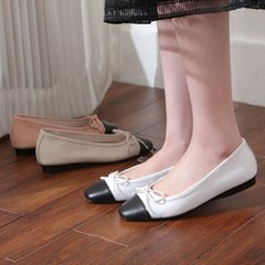 kami et muse Black toe leather ribbon flat_KM19s108