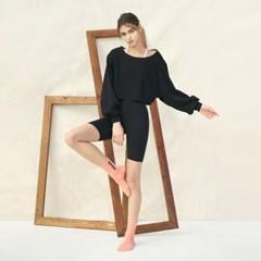 여성 요가복 DEVI-B0013-블랙 필라테스 레깅스 5부 팬츠