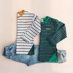 배색 포인트 줄무늬 아동 티셔츠 IB2CL403U
