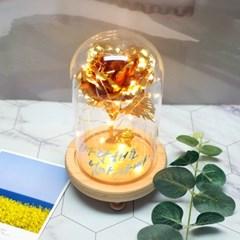 [주문제작] 캘리 레터링 황금장미 유리돔 글라스돔 기념일 선물