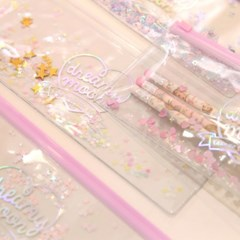 Pinky holic clear pouch_P_11.Glitter_Love blossom
