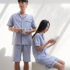 [m] Blue Stripe Short  Pajama Set