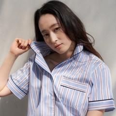 [w] Blue Stripe Short  Pajama Set