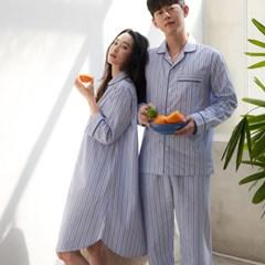 [w] Blue Stripe 3/4 Sleeve Maxi Long Shirt