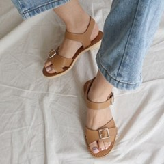 kami et muse Wide double belted flat sandals_KM19s147