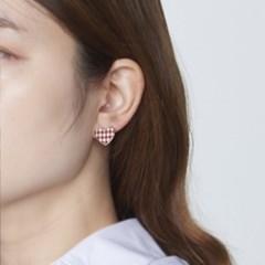 하트 깅엄체크 귀걸이