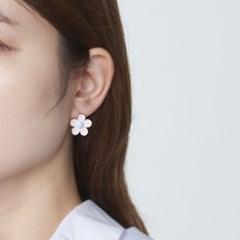 핑크퍼플 꽃 귀걸이