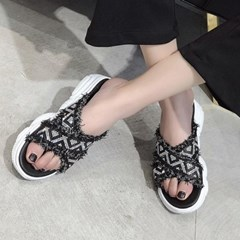 kami et muse Glittering vintage strap wedge slippers_KM19s148